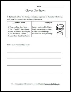 Clerihew writing worksheet for kids
