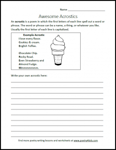 Acrostic Writing Worksheet for Kids