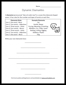 Diamante-writing worksheet for kids