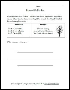 Haiku writing worksheet for kids