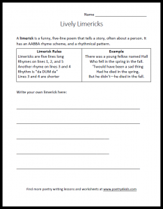 Limerick writing worksheet for kids