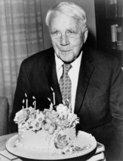 Robert Frost with Birthday Cake