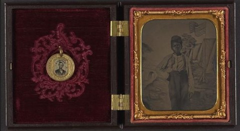 Tintype with American Flag and Campaign Button