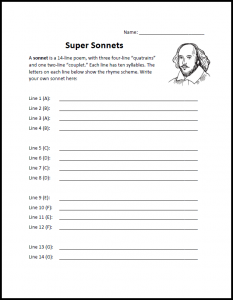 Sonnet Writing Worksheet Download